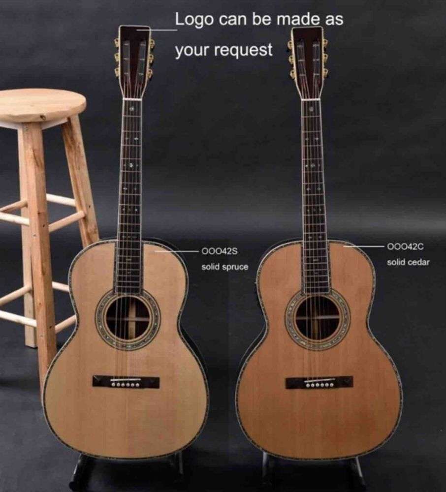 OOO42 Body Shape, Acoustic Guitar, Solid Spruce Top, Real Abalone Binding and Ebony Fingerboard
