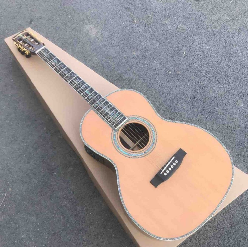 Solid Cedar Top Abalone Inlays OOO Style Acoustic Guitar