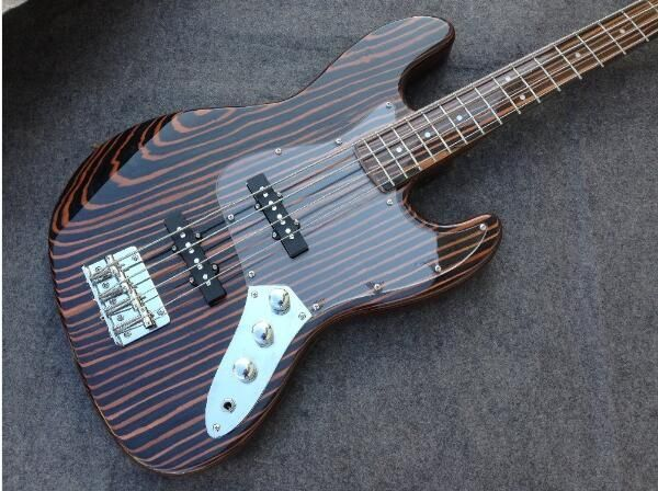 4 Strings Zebra Wood Electric Bass Guitar