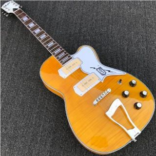 Electric Guitar with Archtop in Yellow