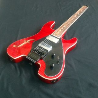 Headless Red Electric Guitar With Tiger Striped