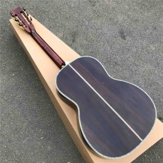 Real Abalone Ebony Fingerboard Solid Spruce Top Ooo42s Style Acoustic Guitar in Sunburst