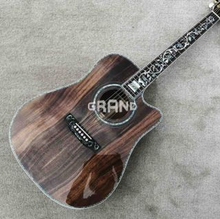 Solid KOA Wood 45 D 41 Real Abalone Acoustic Electric Guitar with Ebony Fingerboard
