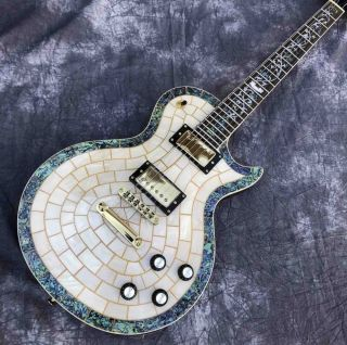Abalone Veneer top Electric Guitar Flower Inlays Gold Hardware