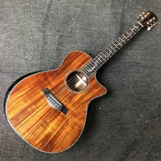 Solid KOA Top Abalone Inlays Ebony Fingerboard Cocobolo Back Sides Acoustic Electric Guitar