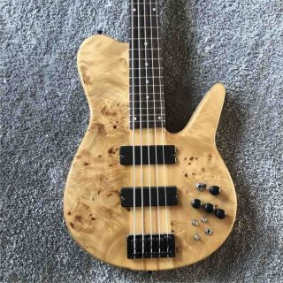 Custom Factory 5 Strings Wood Color Whole body Butterfly Electric Bass Black Metal Hardware
