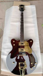 Manufacturer Custom Made Semi Hollow Jazz Electric Guitar Gold Hardware in Wine Brown Color