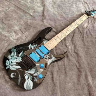 Custom Maple Fingerboard Iban Electric Guitar in Black Color