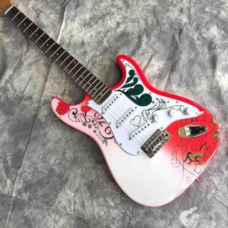 Custom Electric Guitar with Red White and Flower Body Silver Hardware
