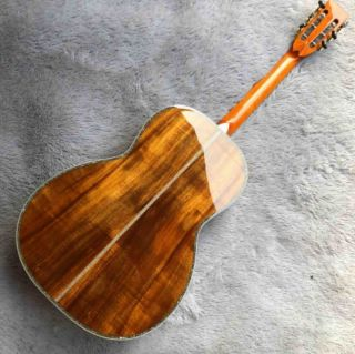 KOA Wood Ebony Fingerboard Abalone Inlay 1 3/4 Inches Nut Width Acoustic Guitar