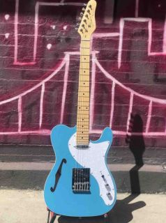 Custom Semi-Hollow Grand Thinline Super Series 2020 Aqua Blue Tele Electric Guitar