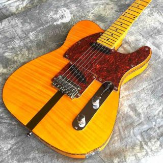 Tiger Flamed Rosewood Fingerboard Mahogany Body Tele Electric Guitar in Yellow with White Hardcase