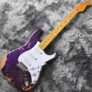 Custom Aged Strat Electric Guitar in Purple