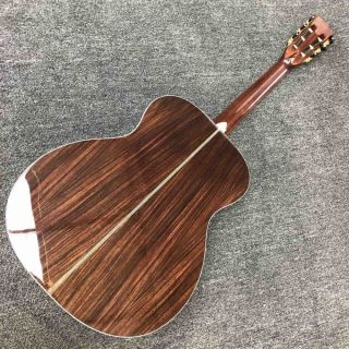 Solid Cedar Top Herringbone Fishbone Binding Ebony Fingerboard 28 OM Style Acoustic Guitar