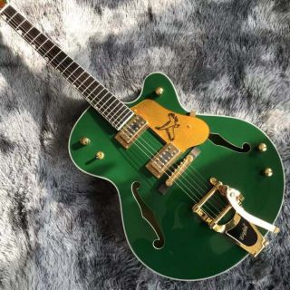 Custom Semi Hollow Body Jazz Electric Guitar With Bigsby Tremolo in Green Color