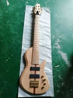 Custom Flamed Maple Top Neck Through Body 6 Strings 24 Frets Active Pickup Electric Bass Guitar