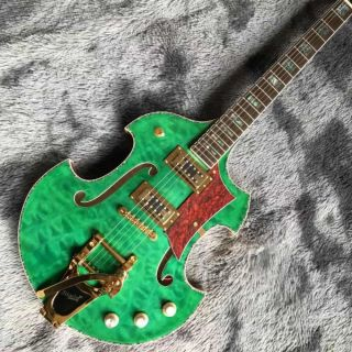 2021 Custom Grand Special Irregular Shape Body Semi-Hollow Body Electric Guitar in Green