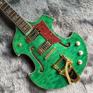 2021 Custom Grand Special Irregular Shape Body Semi-Hollow Body Flamed Maple Top Electric Guitar in Green